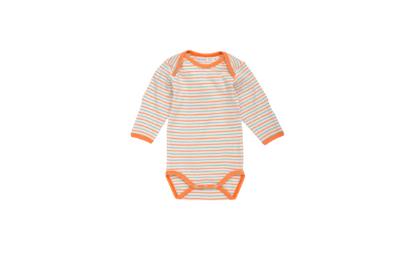 Under the Nile Organic Babybody - Sky & Coral Stripe