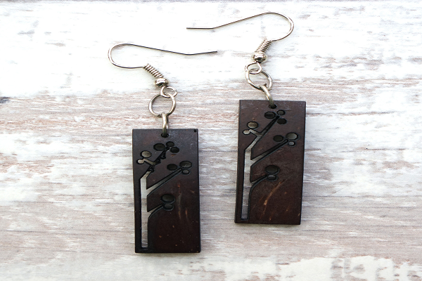 Coconut Rectangular Earrings. made with recycled coconut shells - SustainTheFuture.us - The Natural and Organic Way of Life