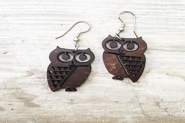 Coconut Owl Earrings - recycled coconut shells.  - SustainTheFuture.us - The Natural and Organic Way of Life