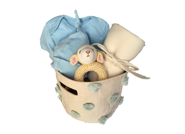 Baby Boy Gift Basket - Little Boy Blue - SustainTheFuture.us - The Natural and Organic Way of Life