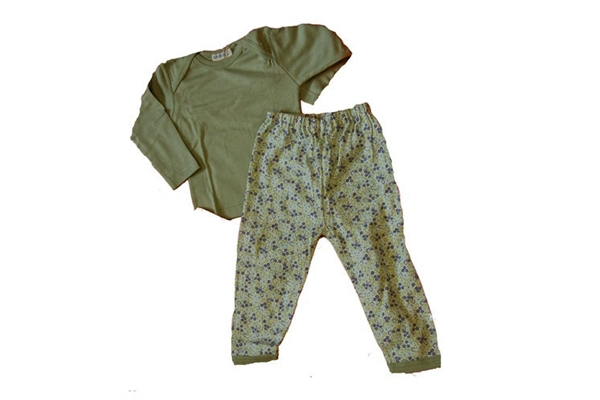 Organic Shirt & Pant - Long Sleeve Green Tee and Leggings - 18 Months