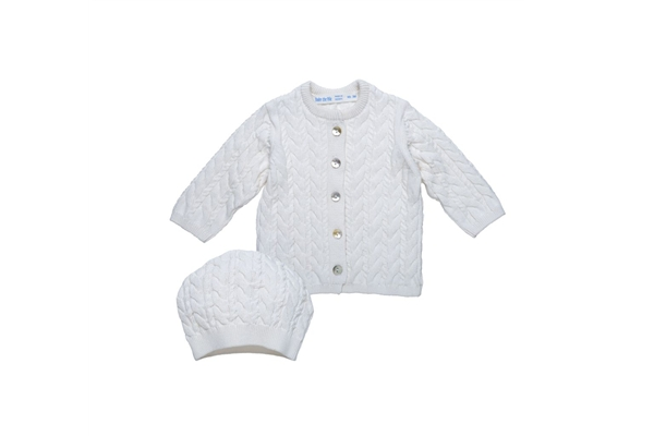 Organic Baby Clothes - Under the Nile Cable Knit Cardigan & Hat Set
