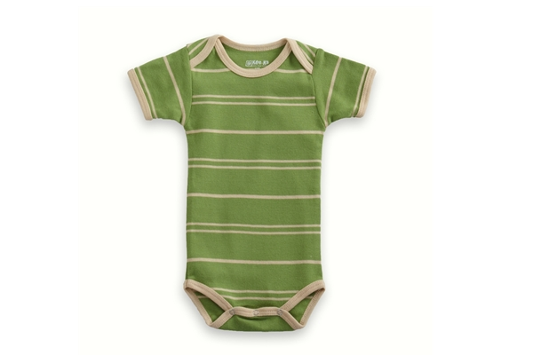 Organic Baby Clothes - T-Shirt Baby Body - Green/Vanilla Stripe