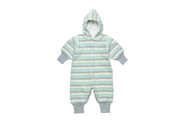 Organic Baby Clothes - Hooded Warmzy - Green Grey Origami Stripe