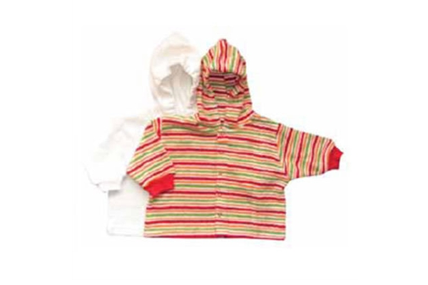 Organic Baby Jacket - Red Stripe - 24 Months