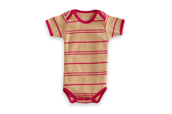 Organic Baby Clothes - T-Shirt Baby Body - Pink/Vanilla Stripe