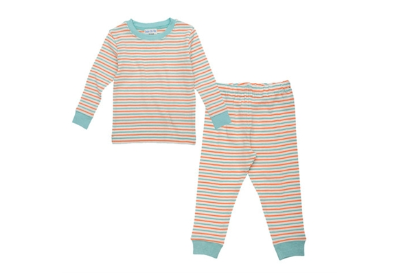 Organic Cotton Long John's for Toddlers - Under the Nile - Sky/Coral Stripe