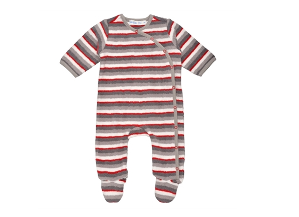 Organic Baby Clothes - Side Snap Footie - Red Gray Stripe - 3 Months