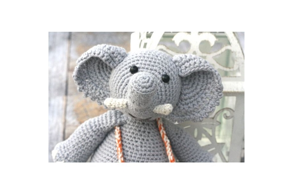Organic Hand Crocheted Elephant Toy
