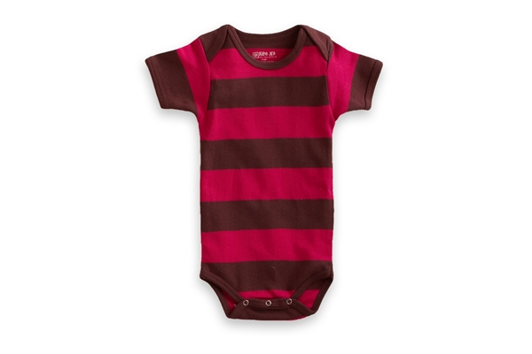 Organic Baby Clothes - T-Shirt Baby Body - Pink/Chocolate