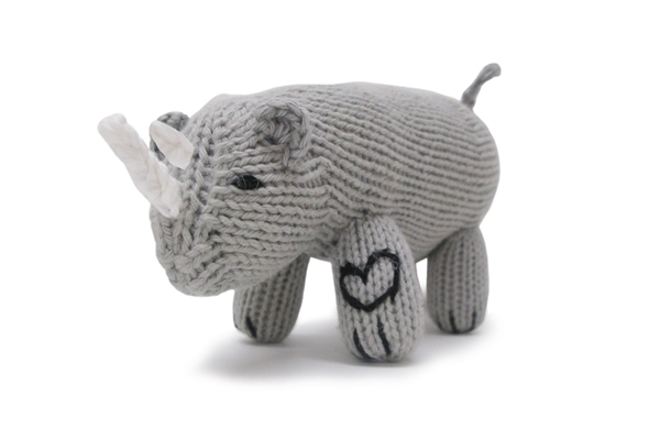 Organic Toy - Soft Baby Rattle - Rhino