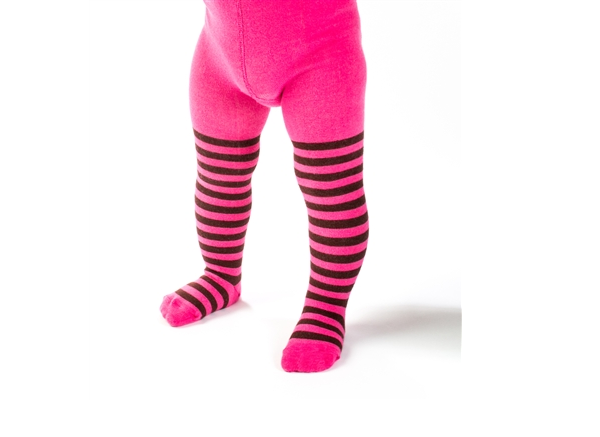 Organic Baby Tights - Pink and Chocolate