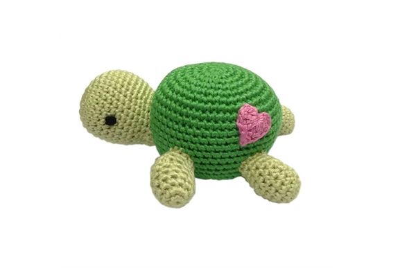 Organic Baby Toys - Handmade Turtle Rattle