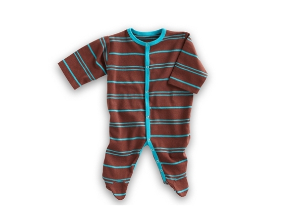 Organic Baby Clothes - Chocolate/Turquoise Footie