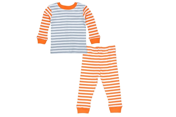 Organic Toddler Pajamas - Long Johns - Orange/Grey Stripe
