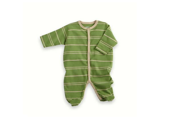 Organic Baby Clothes - Vanilla/Green Footie