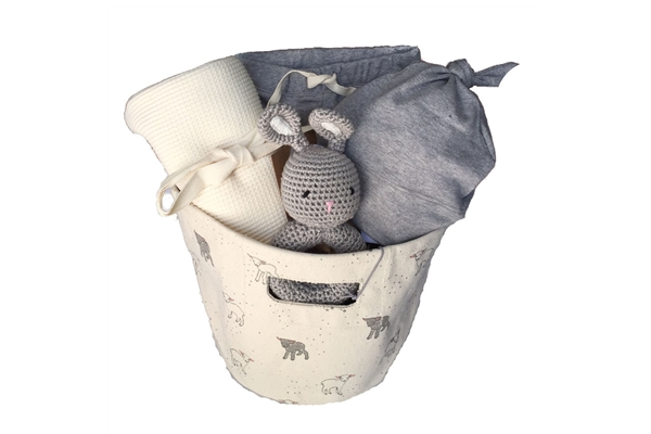Cream & Gray Organic Baby Basket - In My Meadow