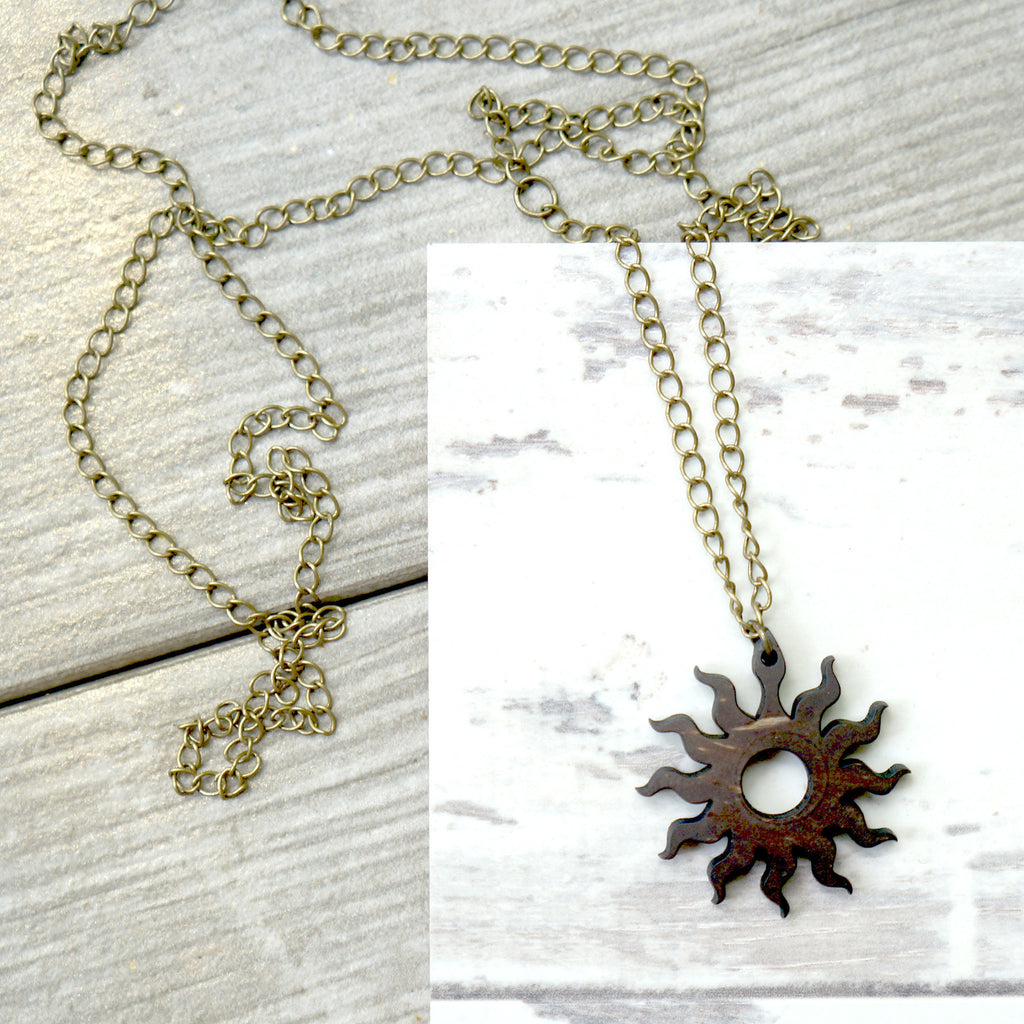 ZODIAC SUN CHAIN NECKLACE. Made out of recycled coconut shells