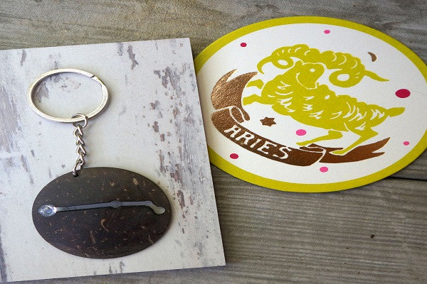 ARIES ZODIAC KEYCHAIN - leaning forwards for speed and focus. - SustainTheFuture.us - The Natural and Organic Way of Life