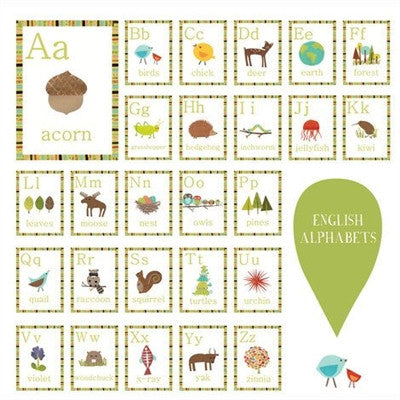 Organic Nursery Art - Learn the ABCs with Nature Alphabet Wall Cards