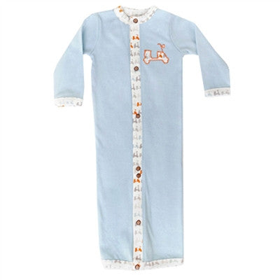 Organic Baby Clothes - Boys' Convertible Gown - Blue Scooter