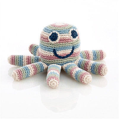 Organic Baby Toy - Hand Knit Octopus Rattle