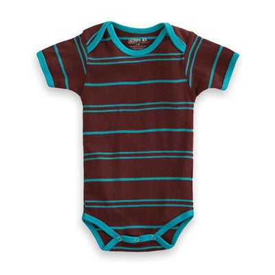 Organic Baby Clothes - T-Shirt Baby Body - Turquoise Chocolate Stripe