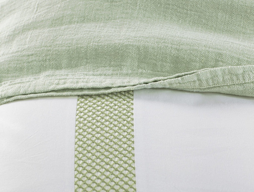 Lattice. 100% organic cotton is grown and woven in India.
