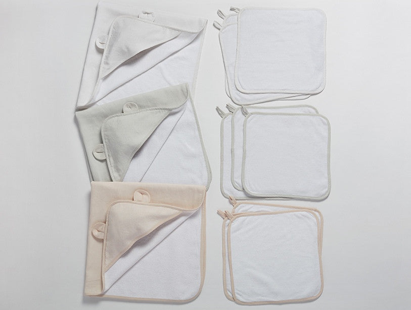 Linen Terry Baby Bath Set. organic cotton mini-loop terry - SustainTheFuture.us - The Natural and Organic Way of Life