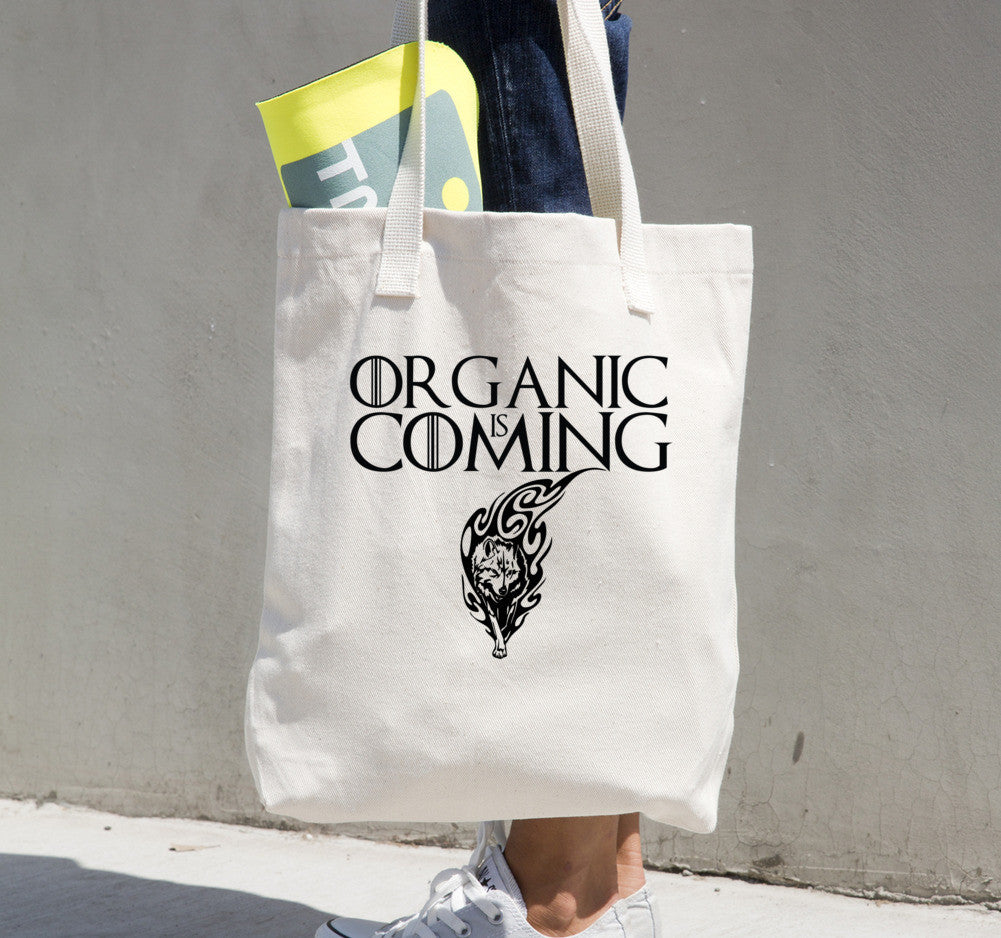 Tote bag Organic Is Coming • 100% bull denim woven cotton
