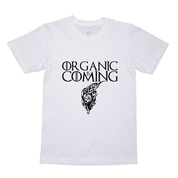 Men's short sleeve t-shirt Organic Is Coming • 100% organic fine jersey • Slim fit