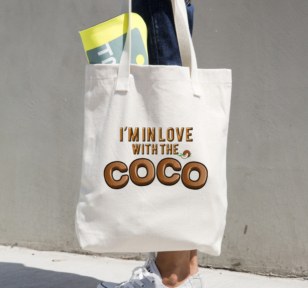 "Tote bag CoCo • 100% bull denim woven cotton • Dimensions: 14 ⅜"" x 14"" (36.5 cm x 35.6 cm) • Dual handles"
