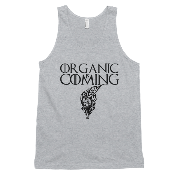 Classic tank top (unisex) Organic Is Coming • 100% fine jersey • Banded arm and head holes - SustainTheFuture.us - The Natural and Organic Way of Life