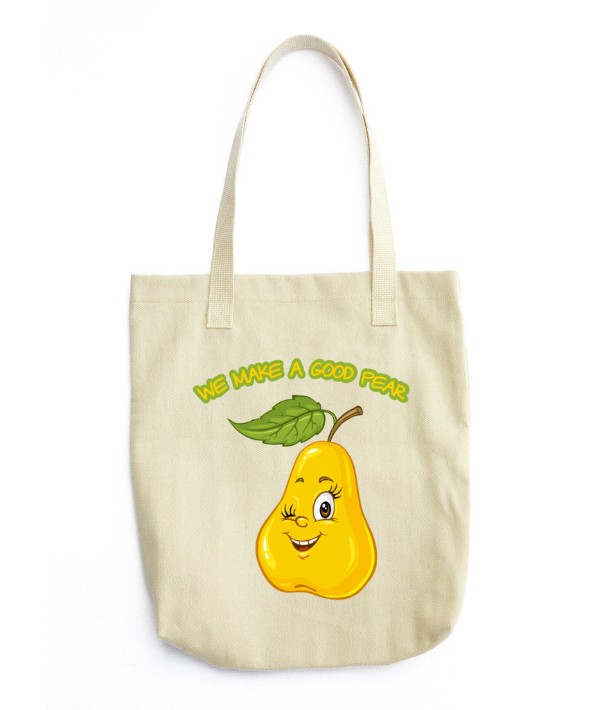 "Tote bag Pear • 100% bull denim woven cotton • Dimensions: 14 ⅜"" x 14"" (36.5 cm x 35.6 cm) • Dual handles"