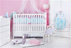 Organic Baby Bedding Set - Pink and Blue Damask