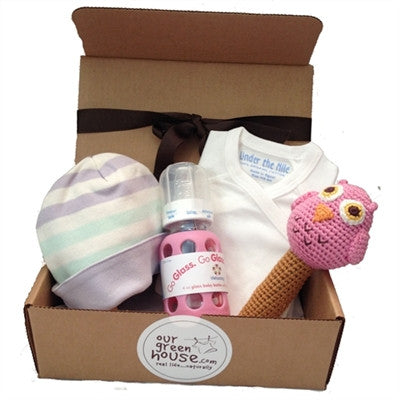 Organic Baby Gift Basket For Girl - Girl Gift Box D - Purple and Pink
