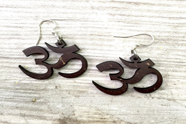 OM YOGA EARRINGS -  mantra for consciousness, is cut into coconut shells
