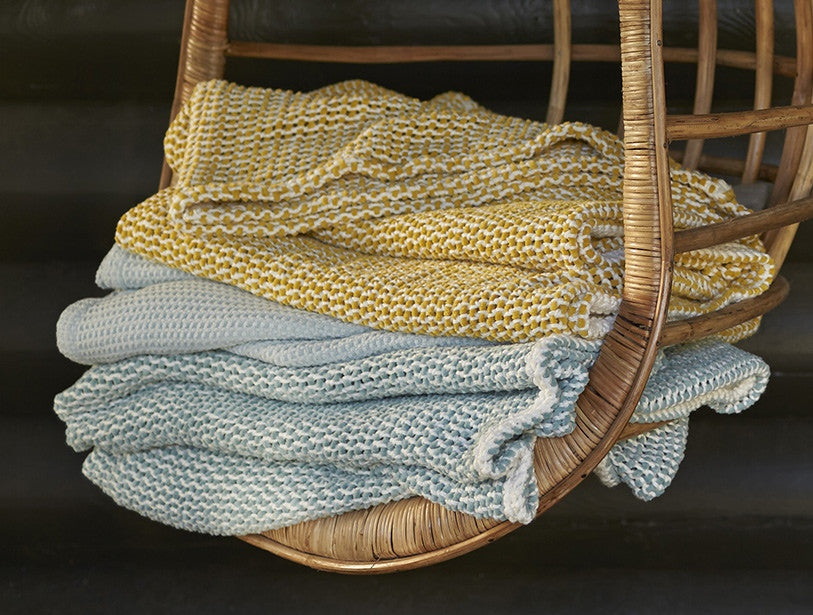 Chenille Chunky Weave Throw. 100% organic cotton is grown and woven in India.