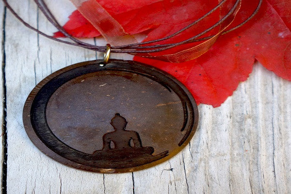 YOGA NECKLACE - MEDIATION PENDANT. Carved with a Buddha silhouette