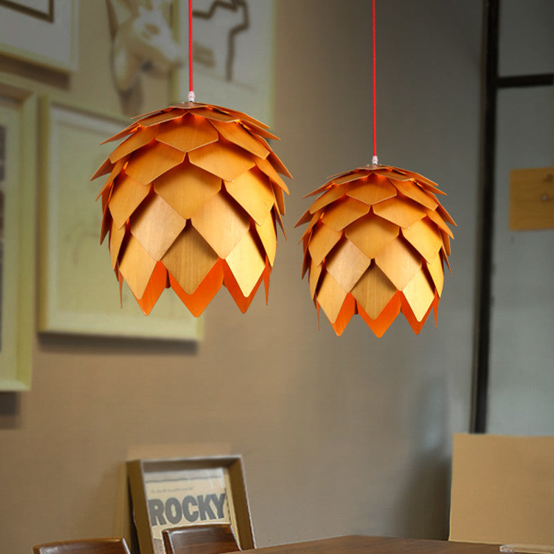 Modern Art OAK Wooden Pinecone Pendant Lights Hanging Wood PH Artichoke Lamps Dinning Room Restaurant Retro Fixtures Luminaire