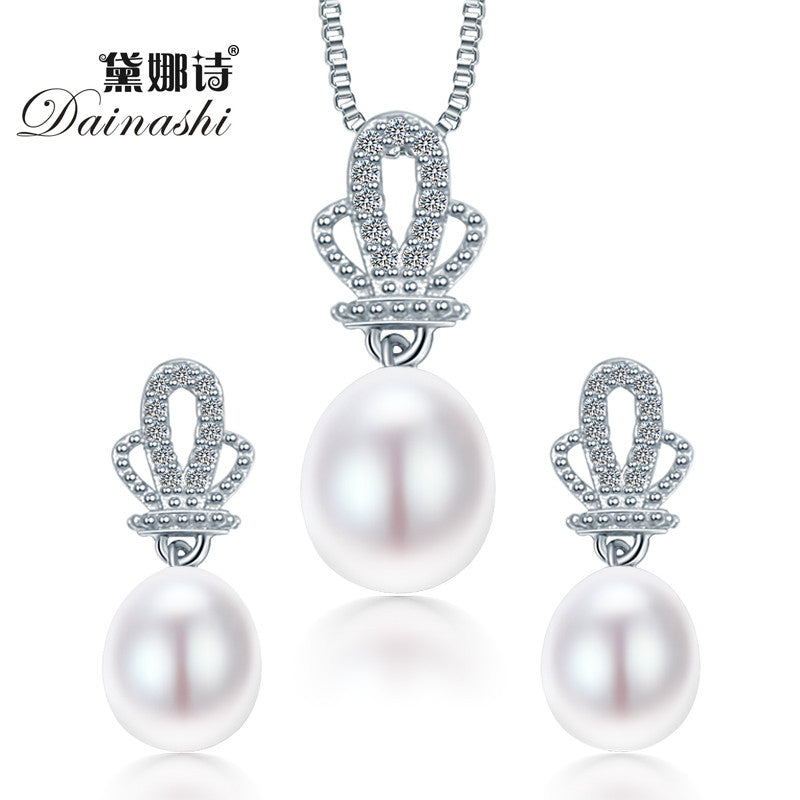 2016 Dainashi Crown Natural Pearl Pendant Earrings 925 Sterling Silver Jewellery Sets,White Pink Purple 9-10mm Water Drop Pearl - SustainTheFuture.us - The Natural and Organic Way of Life