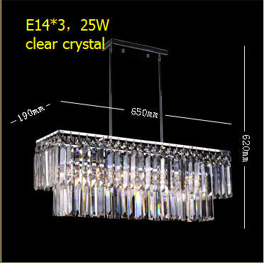 2016 New arrived  /luxury crystal pendant lamp/20W led E14 light base kitchen  rectangular crystal stainless steel lamp - SustainTheFuture.us - The Natural and Organic Way of Life