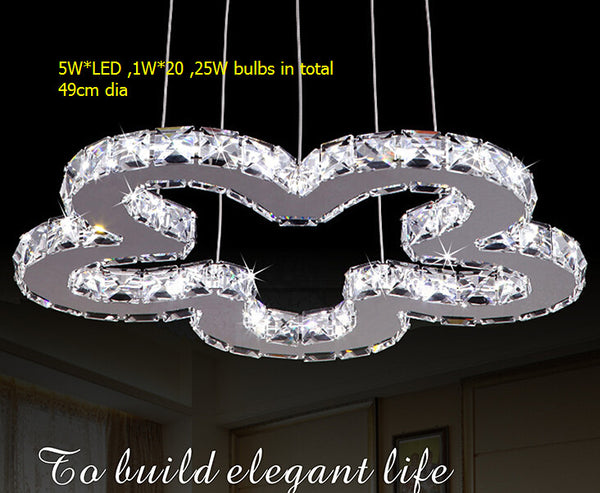 EMS Free shipping !Dia 49cm stainless steel ring  / flower design Crystal  led pendant  lights /suspend hanging lighting
