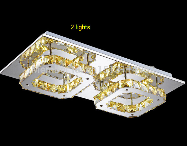 Free shipping! 2015 Hot Sales ! 2 lights entrance ceiling lamp / led *24W 44*22*8CM stainless steel amber crystal corridor lamp - SustainTheFuture.us - The Natural and Organic Way of Life
