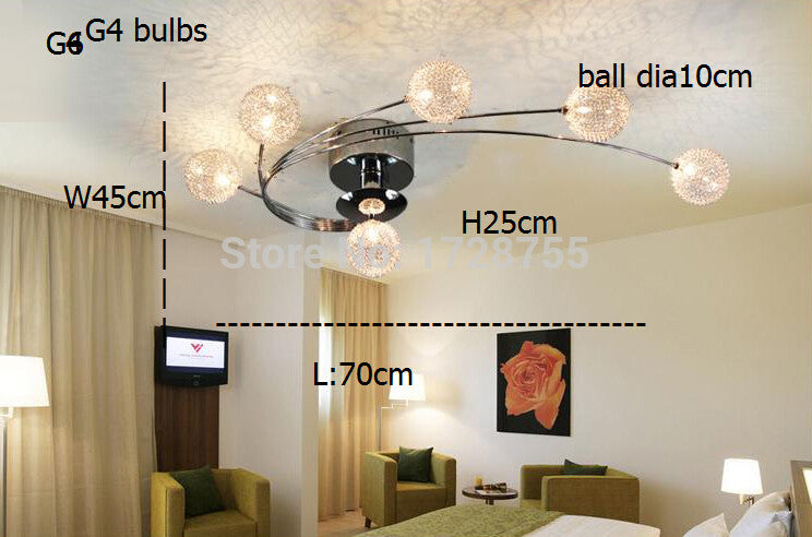 Aluminium wire lampshade Northern Europe creative aluminium led ceiling lamp/L70cm W45 H25cm G4*6 wrought iron led chandelier - SustainTheFuture.us - The Natural and Organic Way of Life
