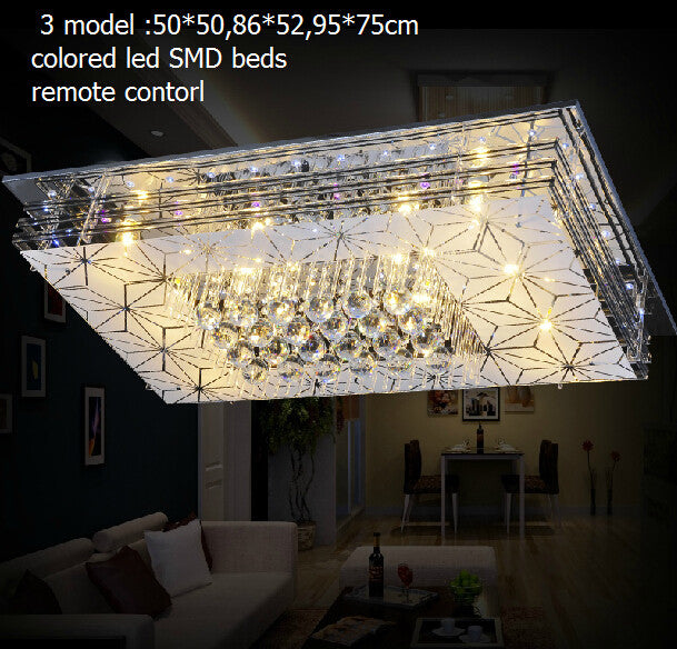 95*75 larger Contemporary Minimalist crystal led flicker chandelier light /colored led crystal ceiling lamp rectangle design - SustainTheFuture.us - The Natural and Organic Way of Life