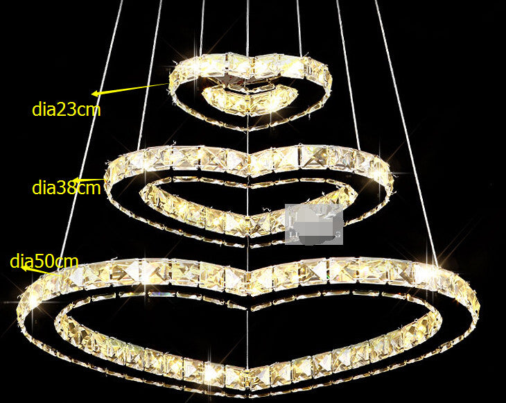 50*38*23cm/3 rings 3 hearts crystal led pendant lights / fasion led romantic lamp/ living room/hotel minimalist lamp - SustainTheFuture.us - The Natural and Organic Way of Life