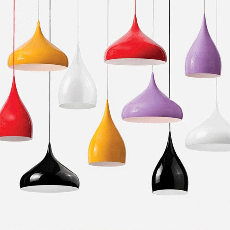Modern Brief Pendant Light North European water-drop aluminum lamp bedroom lamp bar colorful lighting black white red