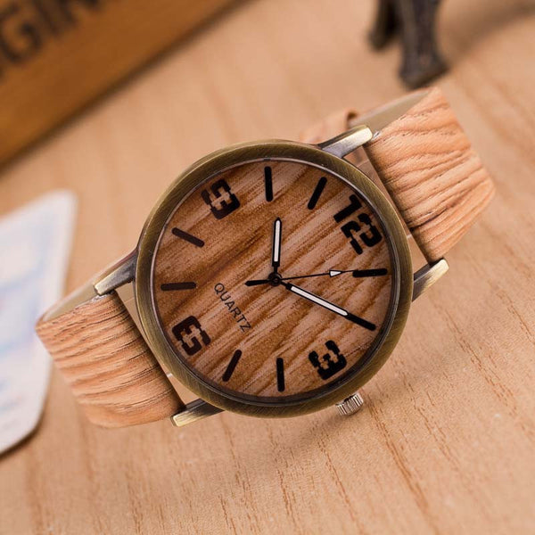 2016 Simulation Wooden Watches Men Quartz  Casual Wooden Color Leather Strap Watch Wood Male Wristwatch Relogio Masculino