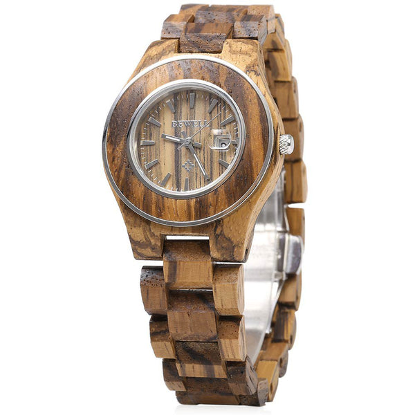 Bewell Women Wooden Quartz Watch, Calendar Luminous Pointer Female Fashion Wrist Watches, Ladies Elegant Watches 2016